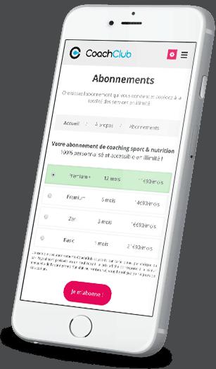 Capture d'écran application CoachClub sur iPhone